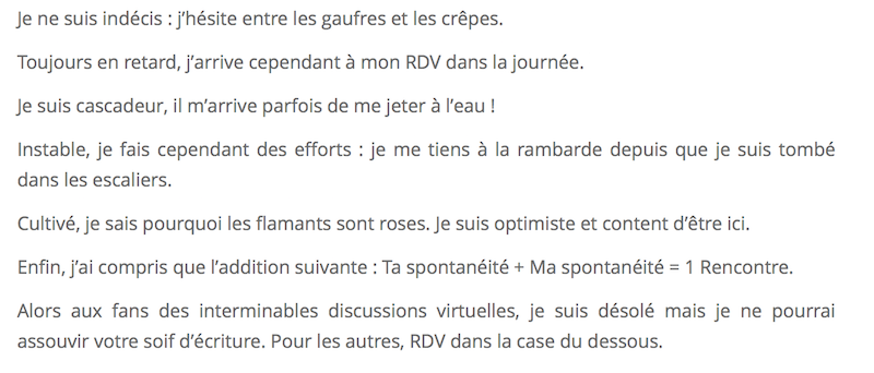 Belle description pour site de rencontre