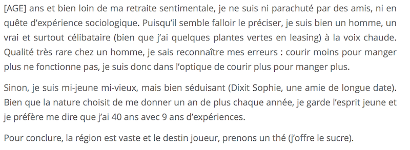 Description amusante pour site de rencontre